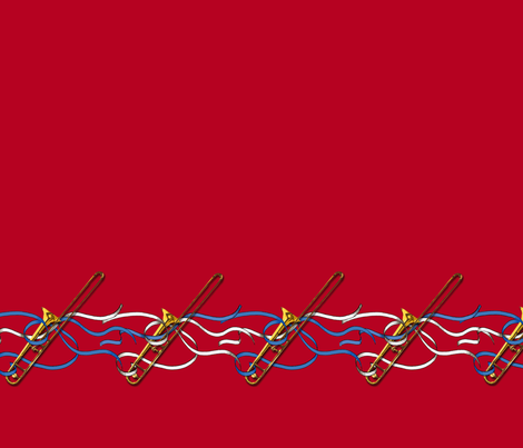 Trombones & Ribbons 1yd Horizontal Band fabric by engravogirl on Spoonflower - custom fabric