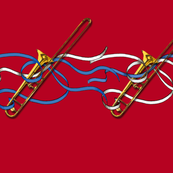 Trombones & Ribbons 1yd Horizontal Band