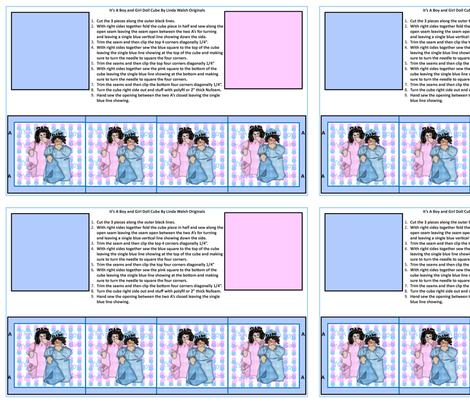 It's A Girl! It's A Boy! Dolls Cut and Sew Cube fabric by lworiginals on Spoonflower - custom fabric