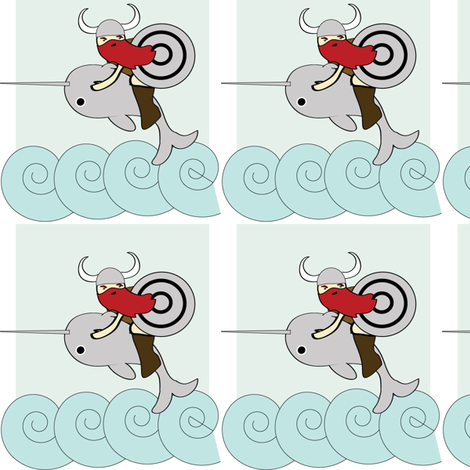 Viking Riding a Narwhal fabric by kiwicuties on Spoonflower - custom fabric