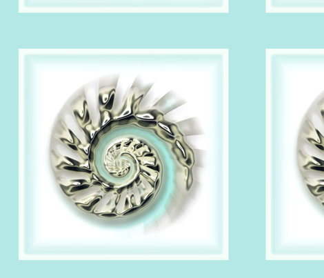 Mercury Glass Nautilus six to a fat quarter on sateen fabric by joanmclemore on Spoonflower - custom fabric