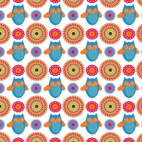 owl medallions fabric by vo_aka_virginiao on Spoonflower - custom fabric
