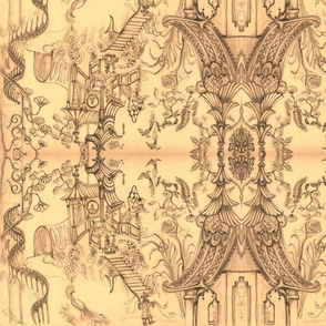 Oriental Wallpaper Sketch Vintage colorby Cynthia Tom-ed