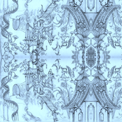 Oriental Wallpaper sketch Blue by Cynthia Tom