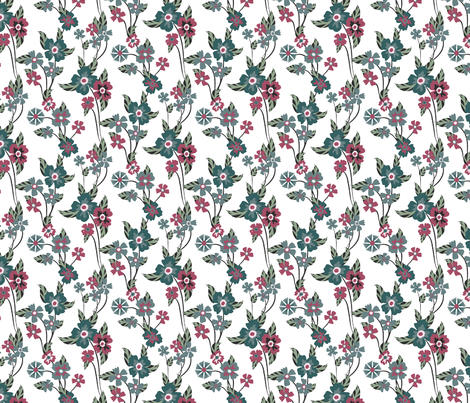 Teal and Pink floral fabric by kezia on Spoonflower - custom fabric