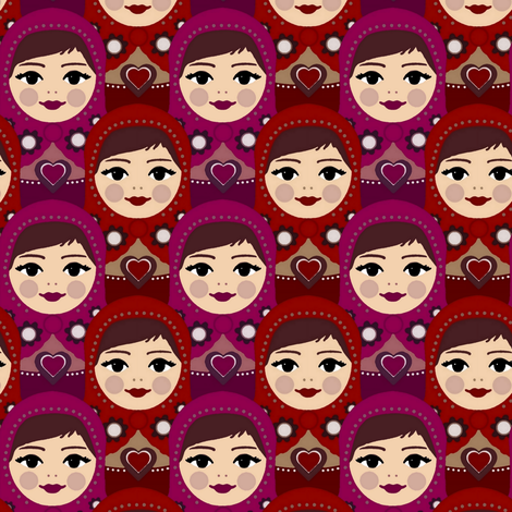 matryoshka crowd fabric by scrummy on Spoonflower - custom fabric