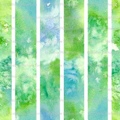 Green Watercolor Wash Stripe