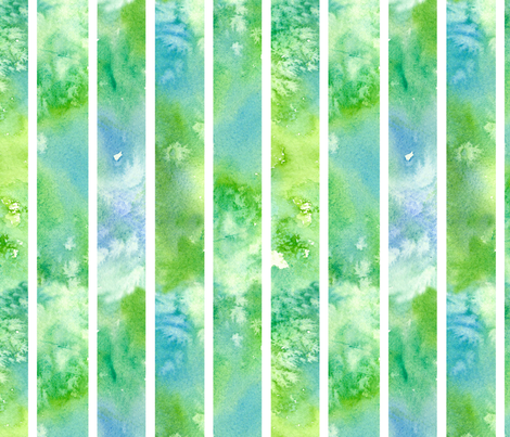 Green Watercolor Wash Stripe  fabric by countrygarden on Spoonflower - custom fabric