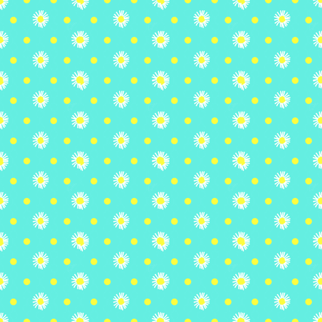 turquoise_white_yellow_flowers fabric by mammajamma on Spoonflower - custom fabric