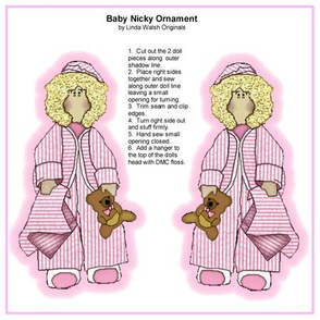 Baby Nicky Girl Cut and Sew Doll Ornament