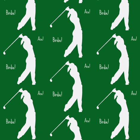 Woman golfer Ace! Birdie! fabric by amy_frances_designs on Spoonflower - custom fabric