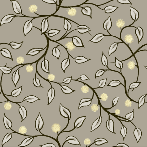 leafy stems & buds light fabric by thatswho on Spoonflower - custom fabric