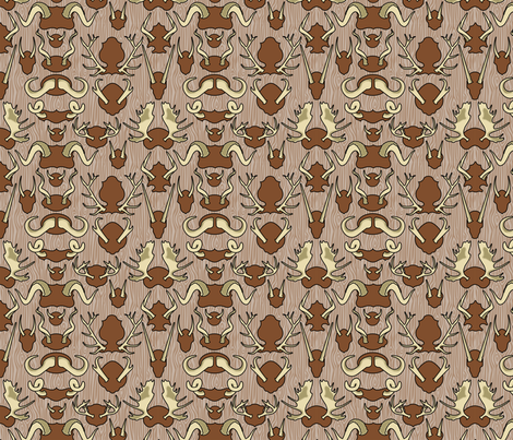 Antler Wall Bark fabric by thirdhalfstudios on Spoonflower - custom fabric