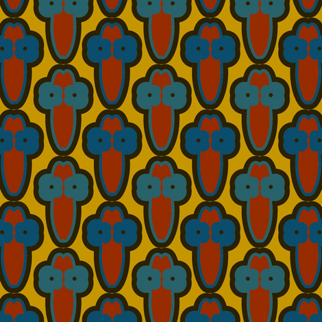 Cactus Flowers (Blues) fabric by david_kent_collections on Spoonflower - custom fabric