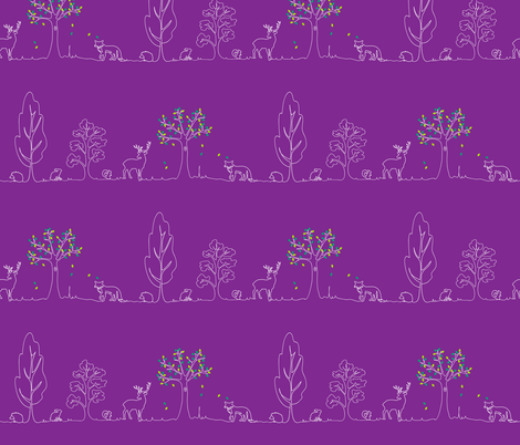 woodland doodle purple fabric by coggon_(roz_robinson) on Spoonflower - custom fabric