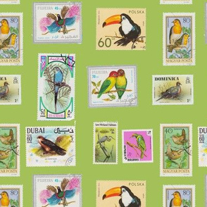Bird Stamp Pattern Green