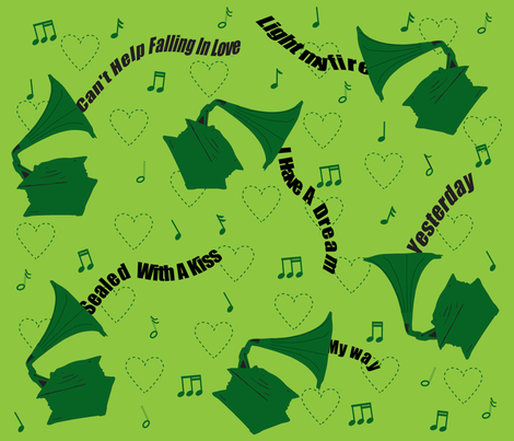 Evergreen songs fabric by alexsan on Spoonflower - custom fabric
