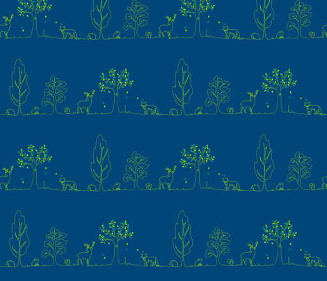 woodland doodle aqua fabric by coggon_(roz_robinson) on Spoonflower - custom fabric