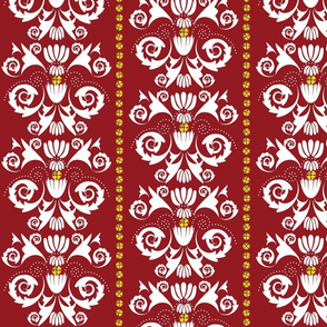 Jingle Bell Damask - Red/White