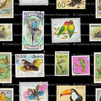 Bird Stamp Pattern Black