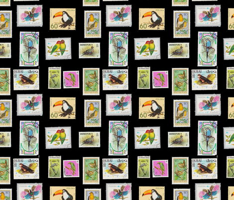 Bird Stamp Pattern Black