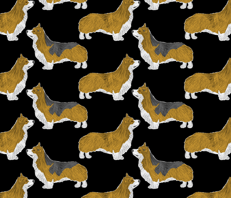 Posing Pems - black fabric by rusticcorgi on Spoonflower - custom fabric