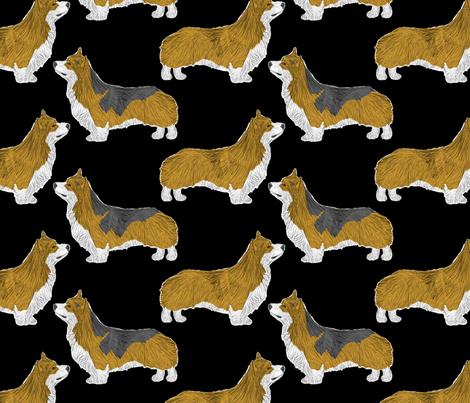 Posing Pems - black fabric by rusticcorgi on Spoonflower - custom fabric