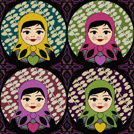 dark evergreen matryoshka fabric by scrummy on Spoonflower - custom fabric