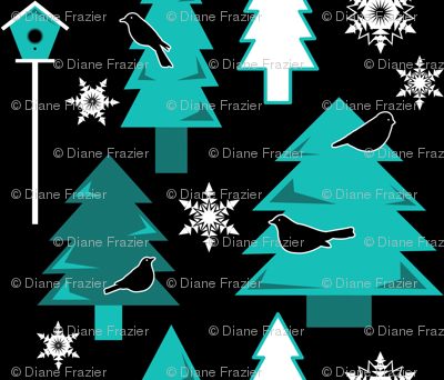 Winter Birds in Night-time Forest (Ice Blue)