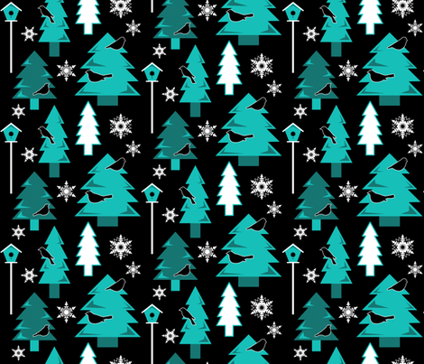 Winter Birds in Night-time Forest (Ice Blue) fabric by dianef on Spoonflower - custom fabric