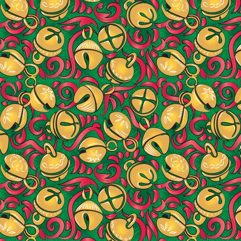 Vintage Sleigh Bells - Green fabric by dianne_annelli on Spoonflower - custom fabric
