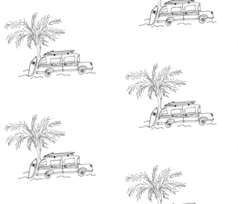 Surf City black & white fabric by captiveinflorida on Spoonflower - custom fabric