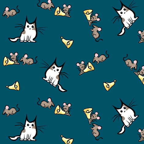 "Aesop-- ""Belling the Cat"" Gold Bells on Blue fabric by pond_ripple on Spoonflower - custom fabric"