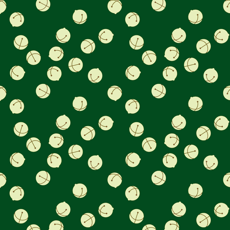 Jingle Bells (green and silver) fabric by ophedia on Spoonflower - custom fabric