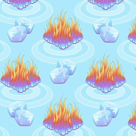 Fire on Ice - When Hell Freezes Over fabric by glimmericks on Spoonflower - custom fabric