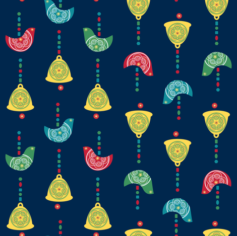 Bells, Birds & Beads (Navy) fabric by gracedesign on Spoonflower - custom fabric