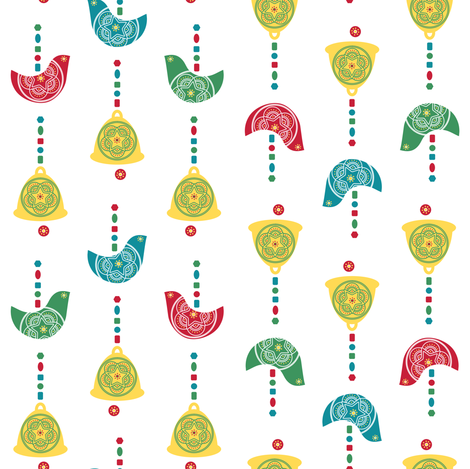 Bells, Birds & Beads (White) fabric by gracedesign on Spoonflower - custom fabric