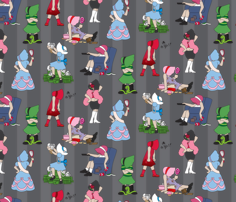 Seven Deadly Sinbonnet Sues fabric by urban_threads on Spoonflower - custom fabric