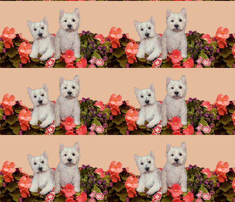 West Highland white terriers_in_the_garden fabric by dogdaze_ on Spoonflower - custom fabric