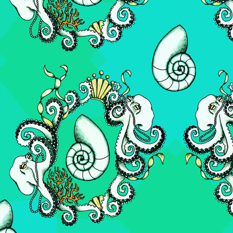 New Rococo Octopi - large fabric by rayne on Spoonflower - custom fabric