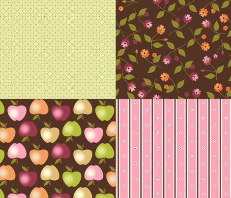 Sweet Apples and Chocolate - Coordinates fabric by inscribed_here on Spoonflower - custom fabric