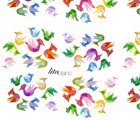 Birds by Lita Blanc fabric by lita_blanc on Spoonflower - custom fabric