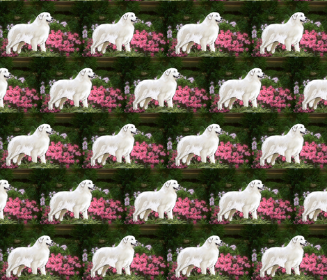 Great Pyrenees In The Garden fabric by dogdaze_ on Spoonflower - custom fabric