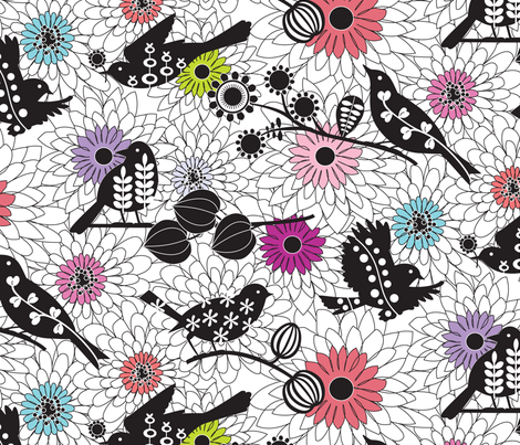 Nest Builders - colour fabric by kayajoy on Spoonflower - custom fabric