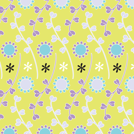 Leaflets - mauve & celery fabric by kayajoy on Spoonflower - custom fabric