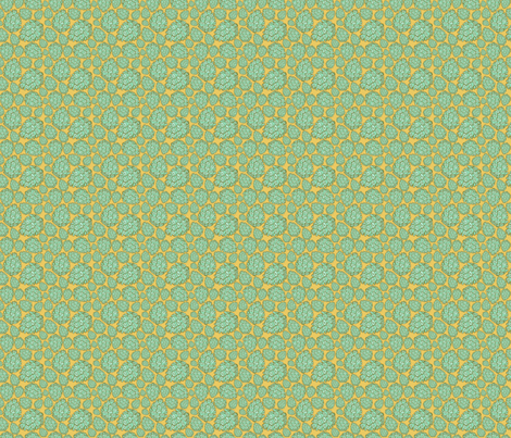 Retro Pinecones {Gold and Mint} fabric by joyfulroots on Spoonflower - custom fabric