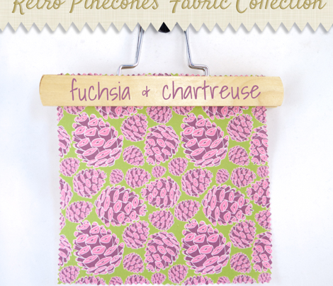 Retro Pinecones {Fuschia and Chartreuse}
