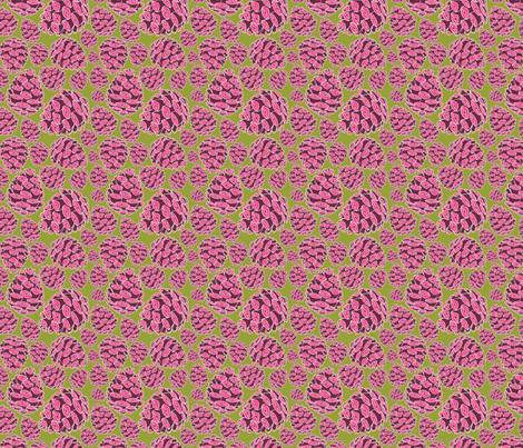 Retro Pinecones {Fuschia and Chartreuse} fabric by joyfulroots on Spoonflower - custom fabric