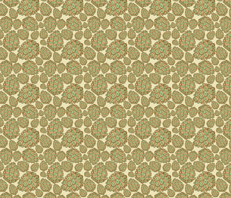 Retro Pinecones {Burlap and Mint} fabric by joyfulroots on Spoonflower - custom fabric