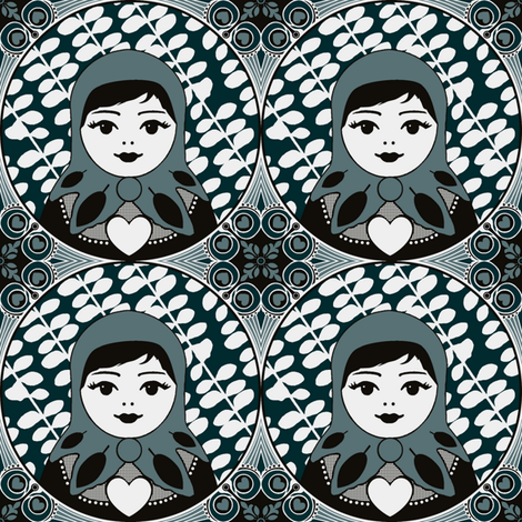 evergreen matryoshka cameo fabric by scrummy on Spoonflower - custom fabric